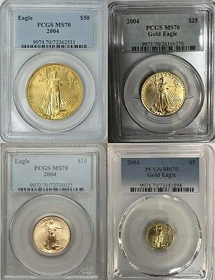 2004 $50 $25 $10 $5 Gold Eagle Pcgs Ms70 4 Coin Set