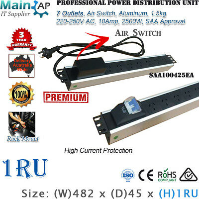 "7 Ways 7 Outlets Power Rail Pdu With Air Switch 19"" Server Cabinet Rack Mount"