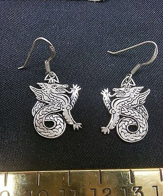Vintage Sterling Silver Chinese Dragon Earrings Designer Signed RARE