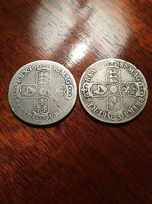 James II Silver Halfcrown 1686 And 1687 - Two Coins - Regnal Year TERTIO