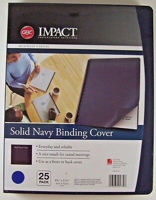 """1 Pack of 25 GBC Impact Solid Navy Binding Cover 8 3/4"""" x 11 1/4"""""""