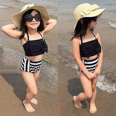 Kids Baby Girls Striped Bikini Set Tankini Swimwear Swimsuit Bathing Suit 3-12Y