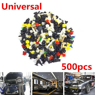 500Pcs Car Door Fasteners Bumper Rivet Retainer Push Engine Cover Fastener Clip