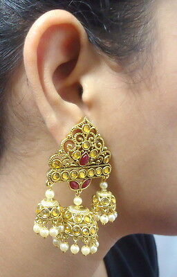 Ruby Lct Kundan Pearl Gold Tone Bollywood Earrings Ethnic Party Bridal Jewelry