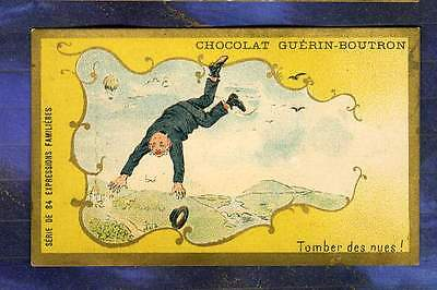 CHROMO GUERIN-BOUTRON EXPRESSION Jaune Tomber des nues Montgolfiere Herold 1900