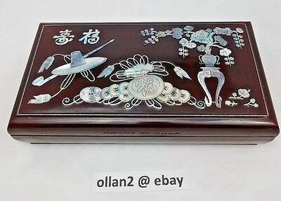 Vintage Black Lacquer Mother-of-Pearl Feng Shui Tobacciana Smoking Box