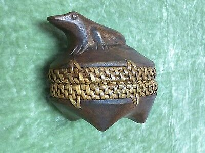 Carved Wood Woven Rattan Frog Trinket Box Footed Dish & Lid Nature Ethnic Tribal