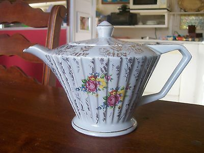 Immaculate  English  Sadler ..... Teapot   Rare  Perfect Pale  Blue  And Gold