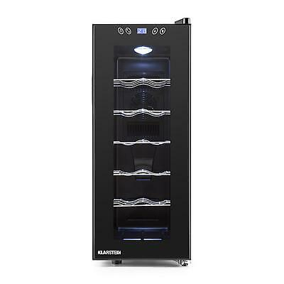Klarstein Counter Top 12 Bottles Wine Drinks Cooler Fridge Glass Door Led 35 L