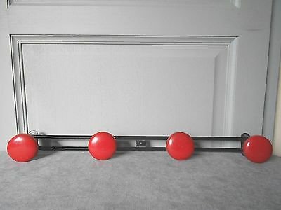 Vintage French LOFT Black Metal Clothing Holder Coat Rack w/ 4 RED Pegs
