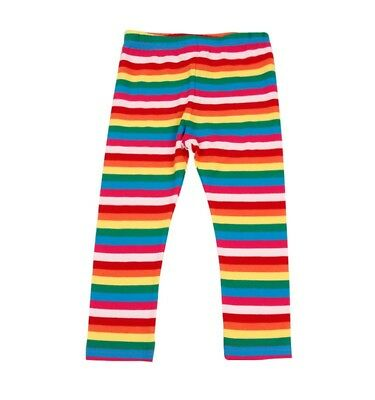 Girls' colourful rainbow stripe cotton leggings  2-3Y 3-4Y 4-5Y 5-6Y 6-7Y