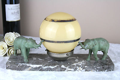 Art deco French spelter Group elephants marble base central lamp 1930's