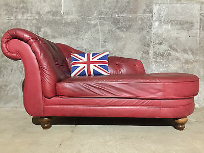 LARGE Chesterfield Winchester Chaise Longue Sofa Oxblood Red Leather *DELIVERY*