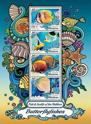 Z08 MLD161006a MALDIVES 2016 Oceans Navy Life Butterfly fishes MNH