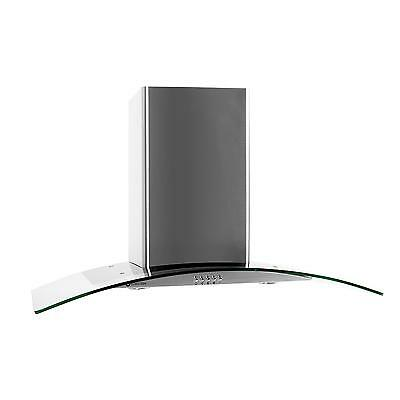140W Glass Cooker Hood 90Cm Extractor Chimney Fan Led Lights Stainless Steel