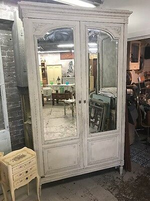 Stunning Antique Double Door Mirrored French Armoire