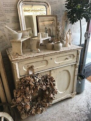 Gorgeous Little Antique Hungarian cupboard/sideboard/Original Chippy White Paint