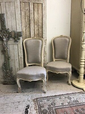 Beautiful Pair Of Newly Upholstered French Bedroom Low Chairs Antique
