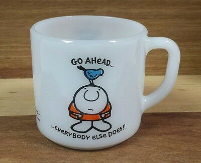 Vintage Ziggy Federal Milk Glass Coffee Mug Funny Ziggy Comics Tea Cup