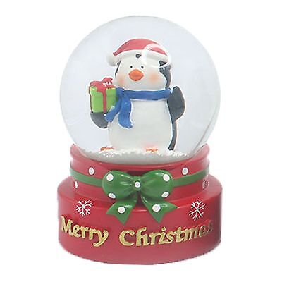 Christmas Decoration 65mm Mini Snow Globe with Penguin Holding Present