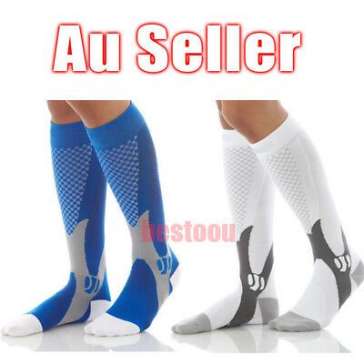 New Unisex Compression Socks Leg Support Open Knee Stockings Sox BU