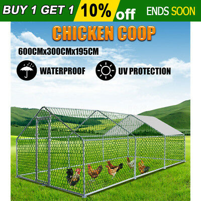 6x3x1.95M Chicken Coop Pet House Hen Cage Outdoor Cage Enclosure Large Run