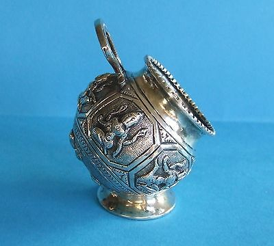 RARE ANTIQUE INDIAN SOLID SILVER (tested)  SALT POT 1890, 47g, GOOD CONDITION