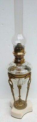 Beautiful LAMP OIL Antique 19th Crystal BACCARAT Bronze and Marble