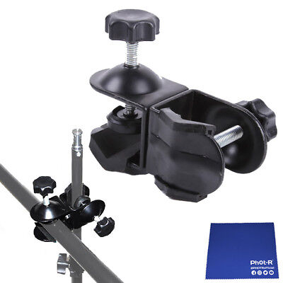 Phot-R Double Dual C-Clamp Clip Light Stand Boom Arm Reflector Chamois Cloth
