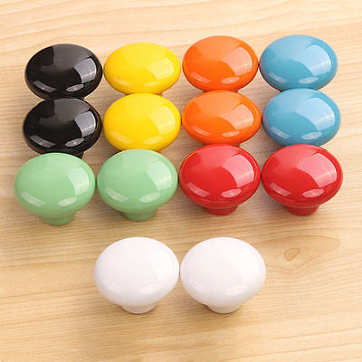 4/10PC Ceramic Door Handles 7 Colors Kitchen Cabinet Cupboard Pull Knobs