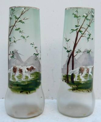 Pair of Beaux VASES Emaillés Decoration DOG (Legras?)