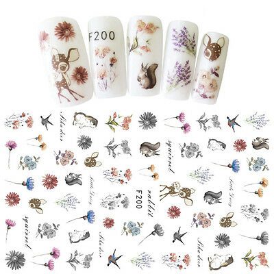 3D Nagel Stickers Nail Art Tattoo Aufkleber Muster Katze Eule Transfer Stickers