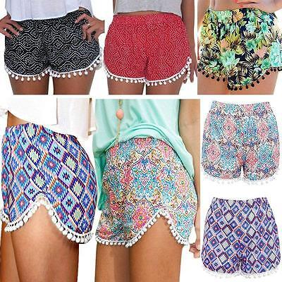 Women Swimming Shorts High Waisted Tassel Tribal Print Gym Beach Casual Pants AU