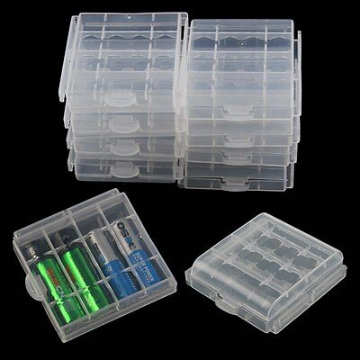 10 Pcs Hard Plastic Battery Case Cover Holder Storage Box for AA or AAA Battery