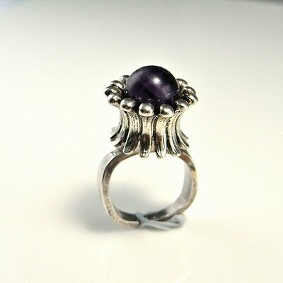 UNISEX SIGNET amethyst cabochon 925 sterling silver RING Space Star Trek Boho