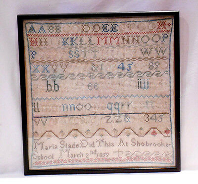 Antique Framed & Glazed Childs Needlework Sampler Dated March 1859 Good Conditio