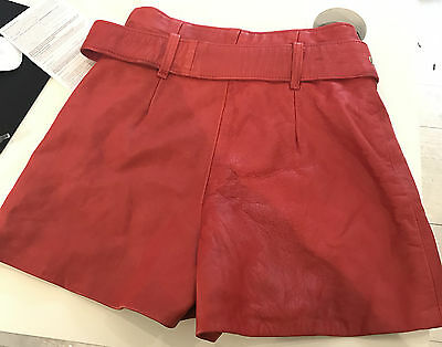 Imperio Clandestino Red Leather Shorts, Vintage 80's, High Waisted