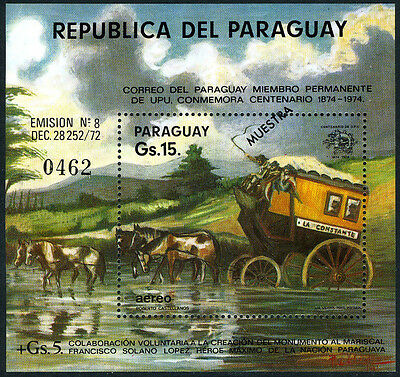 Paraguay 1540 S/S, MNH. SPECIMEN. Mail Coach crossing river. UPU, cent. 1974