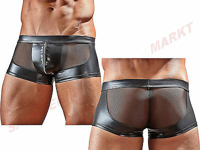 Herren Pants Hipster Short Powernet Mesh Wetlook Slip Neopren Latex Gummi Optik
