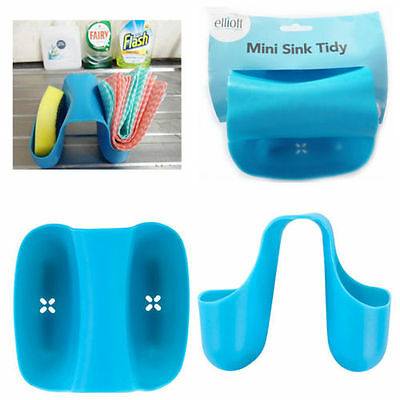 Blue Mini Sink Tidy Holder 'Elliott' Kitchen Washing Sponge Brush Cloth Holder