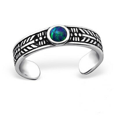 Green Round Stone Sterling Silver Ethnic Toe Ring