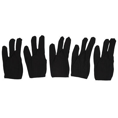 5 x 3 Fingers Gloves for Cue Billiards Snooker, Black CT Q7G3 E2K8