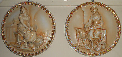 Large Pair Sitzendorf Porcelain Plaques Antique Alto Relievo gilded