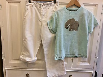 Boys Age 6 Years Janie & Jack Linen Trouser Shorts And T-shirt Elephant Ex Cone