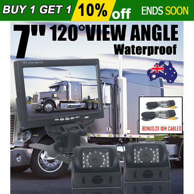 "7"" LCD Monitor Car Rear View Kit+2x IR 18 LED Reversing Camera Bus Truck"