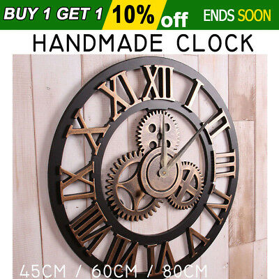 45/60/80cm Large Handmade Clock New Gear Wall Clock Vintage Rustic Decorative AU