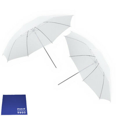 "Phot-R 2x 33"" Translucent & White Collapsible Reflector Umbrella Chamois Cloth"