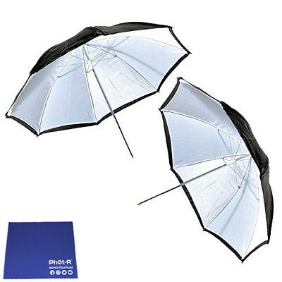 "Phot-R 2x 43"" Black & White Studio Reflector Collapsible Umbrella Chamois Cloth"