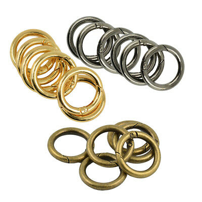 18Pcs 28mm Vintage Round Spring Snap Hooks DIY Jewelry Findings Circle Rings