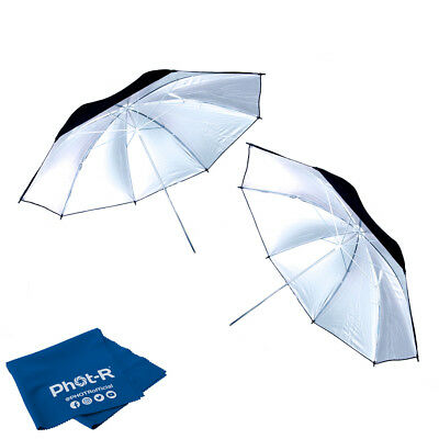 "Phot-R 2x 33"" Black & Silver Studio Reflector Collapsible Umbrella Chamois Cloth"